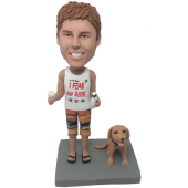 Beer Man and Dog Custom Bobblehead
