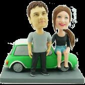 Couple on Mini Cooper Custom Bobbleheads