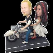 Motorcycle Couple Custom Bobblehead