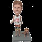 Beer Man and Dog Custom Bobblehead