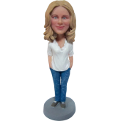 Casual Lady Custom Bobbble Head