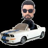 Cool Man in Car Custom Bobblehead
