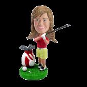 Custom Female Golfing Bobble head