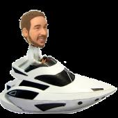 Man in Speed Boat Custom Bobble